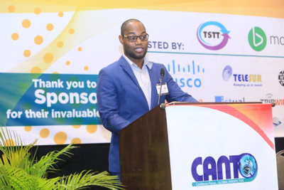 Mandela Christian, Programme Officer, Preparedness and Response, CDEMA presenting on the RRM at CANTO's 34th AGM